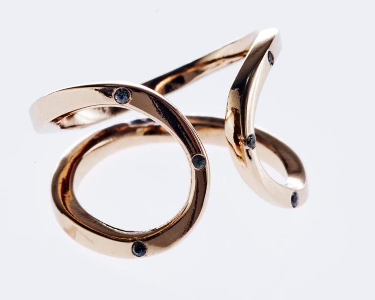 Love Ring Gold Green Sapphire Adjustable J Dauphin J DAUPHIN