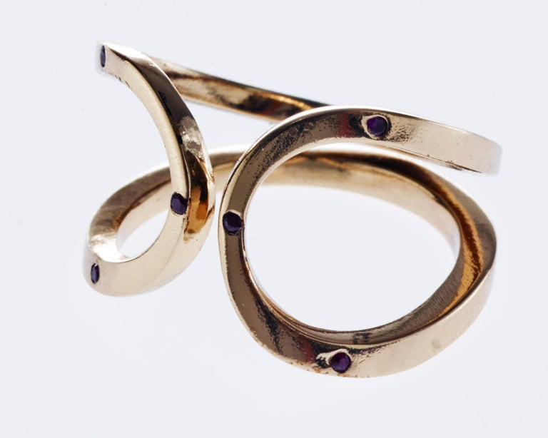 Love Ring Gold Green Sapphire Adjustable J Dauphin In New Condition For Sale In Los Angeles, CA