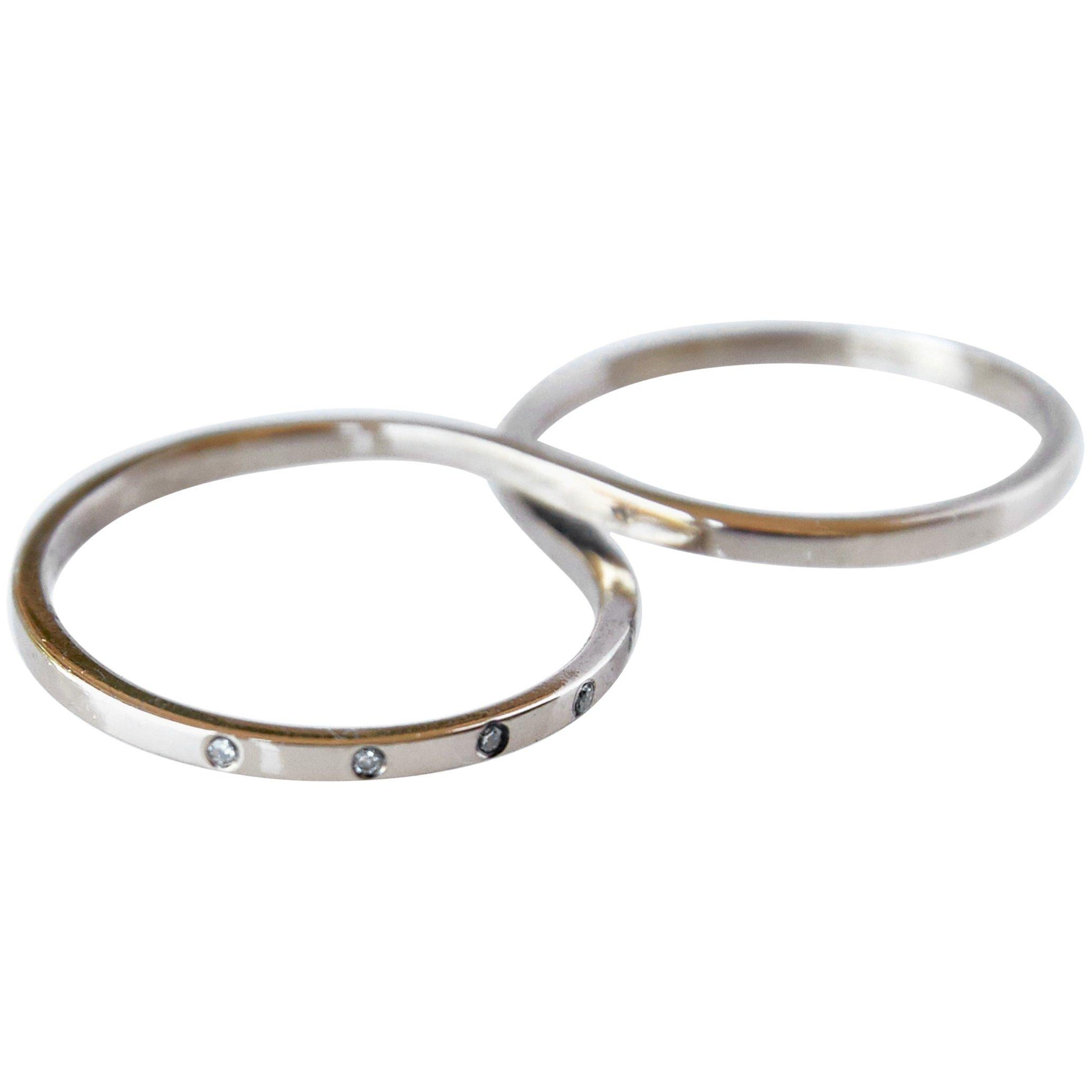 White Diamond Gold Two Finger Ring Fashion Cocktail Ring J Dauphin