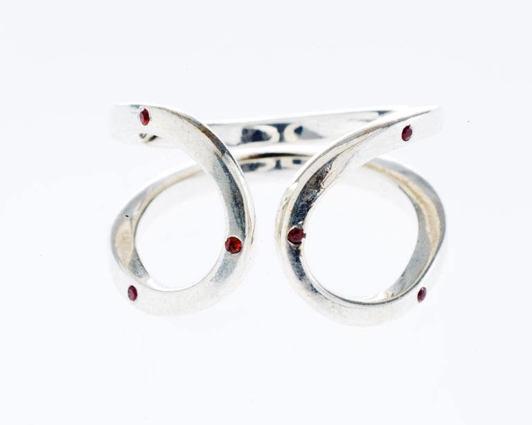 Love Ring White Gold Orange Sapphire Adjustable J Dauphin In New Condition For Sale In Los Angeles, CA