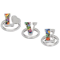 Love Rings Trilogy White Diamonds White Gold Hand Decorated with Micro Mosaic