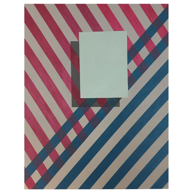 """""""Love Stripe"""" Painting/Acrylic Geometric Modern on Canvas by Cecilia Setterdahl For Sale"""