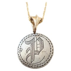 """Love Token Quarter with Engraved """"P"""" on a 14 Karat Gold Bail and Chain"""