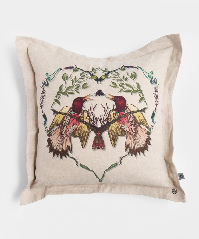 Lovebirds cushion by Timorous Beasties. 100% Linen.