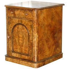Lovely 1860 Victorian Burr Walnut Side Table Cupboard Cabinet Huge Wood Castors