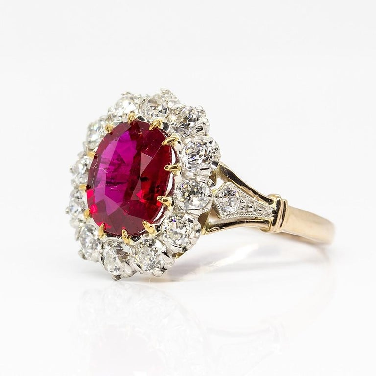 Old Mine Cut Lovely 18 Karat Gold GIA Certified Ruby and Diamonds Halo Ring For Sale