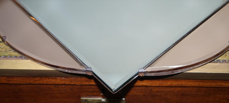 Lovely 1930s French Art Deco Beveled Mirror with Square Inside Circle Rare For Sale 2