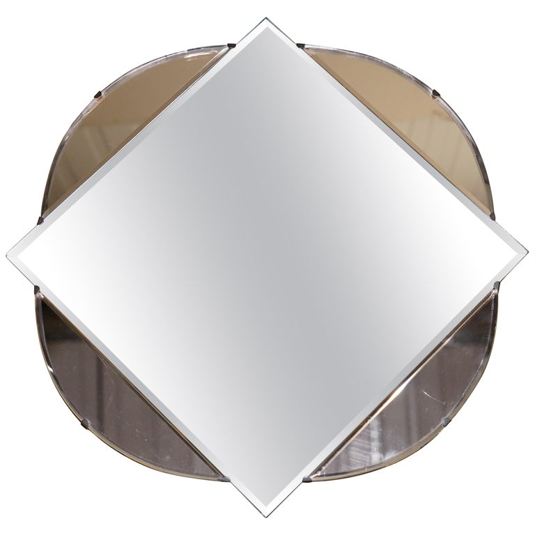 Lovely 1930s French Art Deco Beveled Mirror with Square Inside Circle Rare For Sale