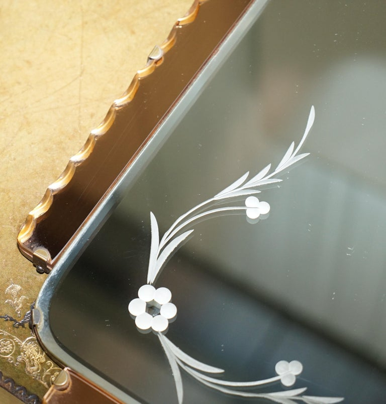 Glass Lovely 1930s Peach French Art Deco Venetian Etched and Engraved Bevelled Mirror For Sale