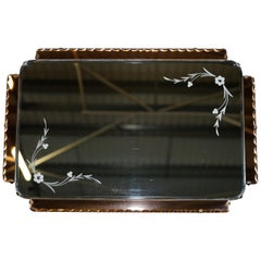 Lovely 1930s Peach French Art Deco Venetian Etched and Engraved Bevelled Mirror