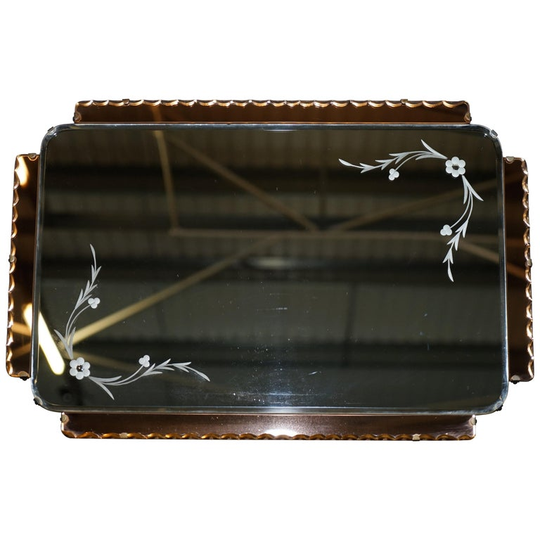 Lovely 1930s Peach French Art Deco Venetian Etched and Engraved Bevelled Mirror For Sale