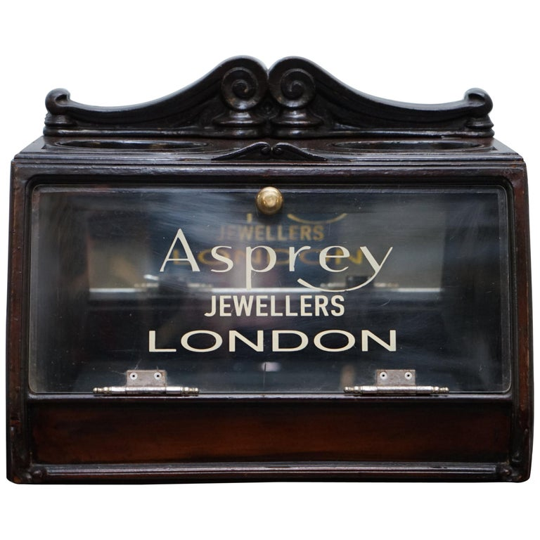Lovely 1940s Counter Top Asprey London Jewellers Haberdashery Display Case For Sale