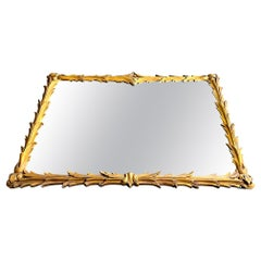 Lovely 1950s Italian Rectangular Rococo Style Gilt Gesso Acanthus Wall Mirror