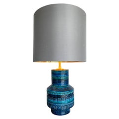 """Lovely 1960s Bitossi Ceramic Lamp by Aldo Londi in Famous """"Rimini Blue"""""""