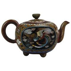 Lovely 19c Antique Meiji Period Japanese Bronze Cloisonné Teapot Bird