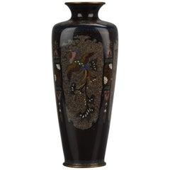 Lovely 19c Antique Meiji Period Japanese Bronze Cloisonné Vase Dragon Phoenix