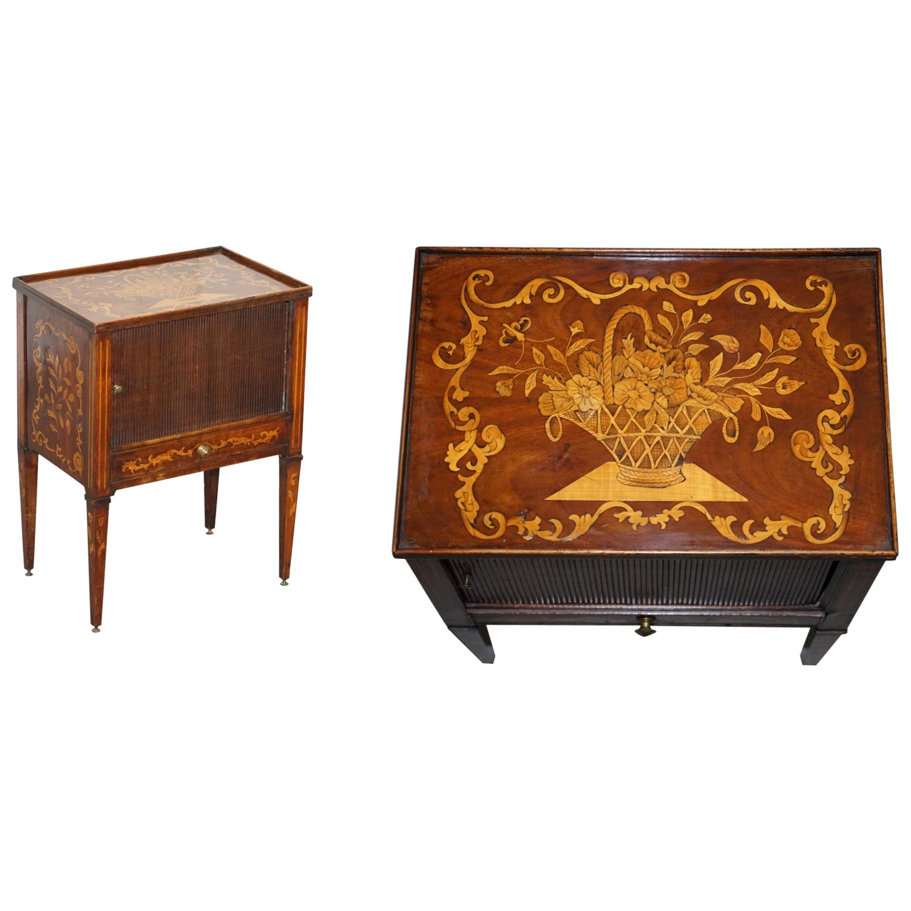 Lovely 19th Century Dutch Marquetry Inlaid Side Table with Tambour Fronted Door