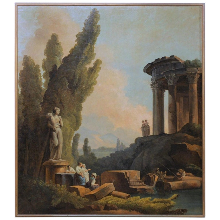 Lovely 19th Century Italian Capriccio Wall Painting For Sale