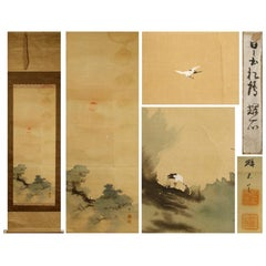 Lovely 19th Century Scroll Paintings Japan Artist Signed Crane in Landscape