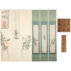 Lovely 19th-Early 20th Century Scroll Paintings Japan Meiji Artist Takebe Hakuho