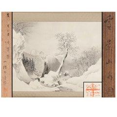 Lovely 19th Tamazusa Kawabata Scroll Paintings Japan Artist Crane Painted
