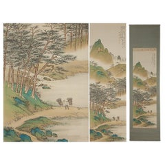 Lovely 20th Century Scroll Paintings Japan Artist Signed Figure in Landscape