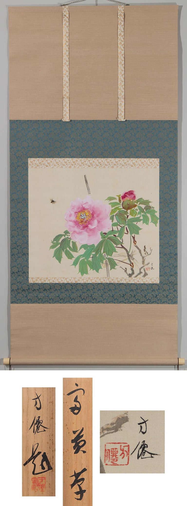 Showa Lovely Scroll Paintings Japan Artist Signed Sparrow in Autumn For Sale