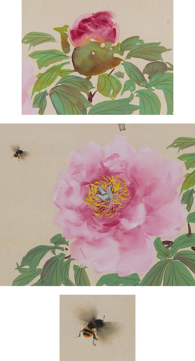 Japanese Lovely Scroll Paintings Japan Artist Signed Sparrow in Autumn For Sale