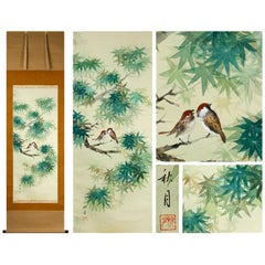 Lovely Scroll Paintings Japan Artist Signed Sparrow in Autumn