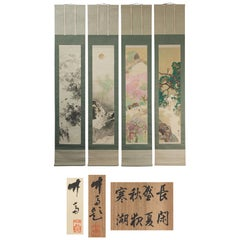 Lovely Yamashita Taketoki Scroll Paintings Japan Artist Crane Painted
