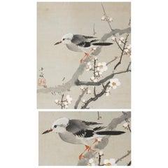 Lovely 20th Araki Jippo Scroll Paintings Japan Artist Bird and Tree Painted