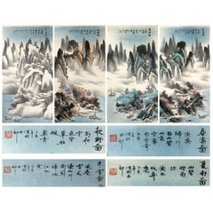 Lovely 20th Century Four Seasons Serie Scroll Painting China Artist Painted