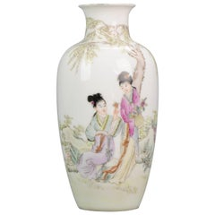 Lovely 20th Century PRoC Chinese Porcelain Vase with Ladies and Calligraphy