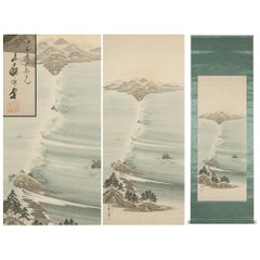 Lovely 20th Century Scroll Paintings Japan Artist Signed Naruto Whirlpools