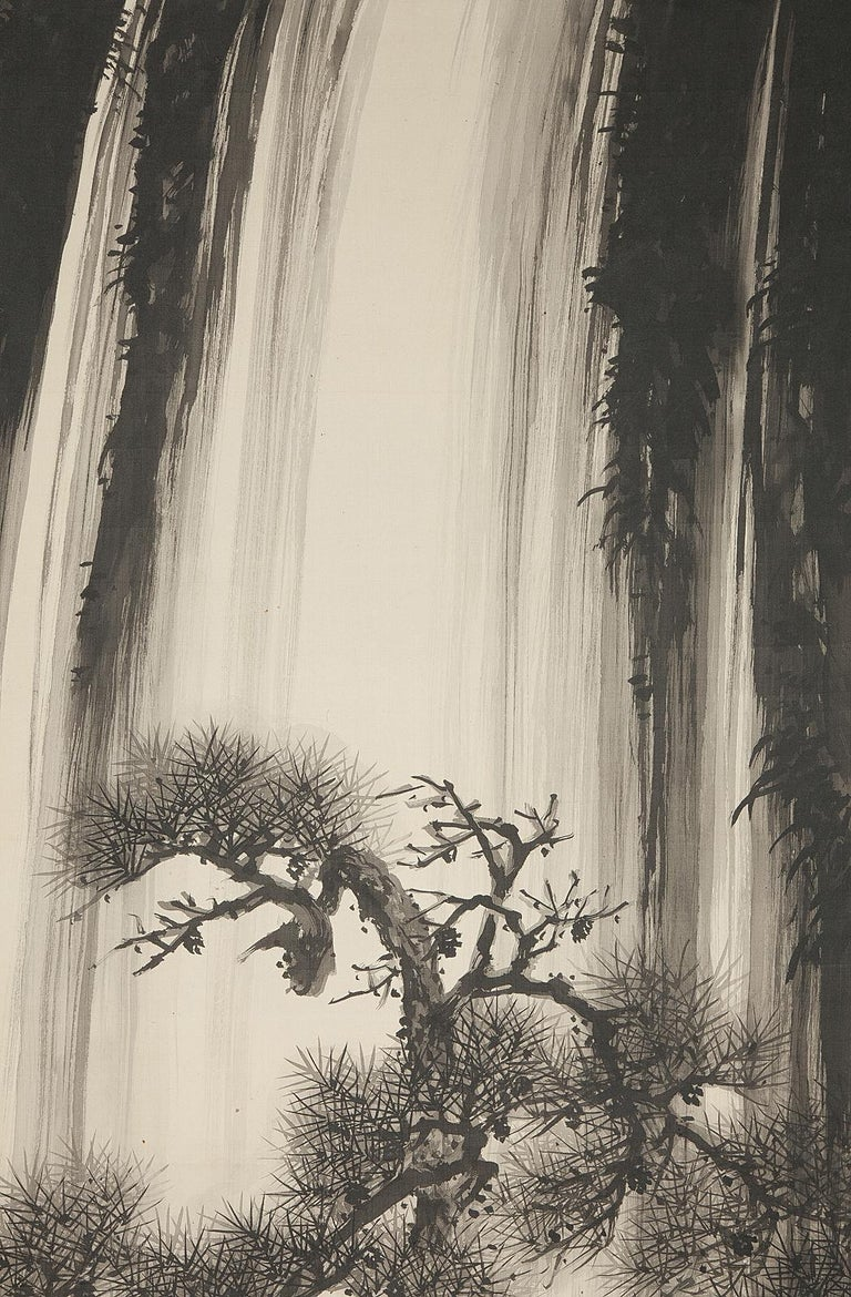 Meiji Lovely 20th Century Scroll Paintings Japan Artist Signed Tree in Ink Waterfall For Sale