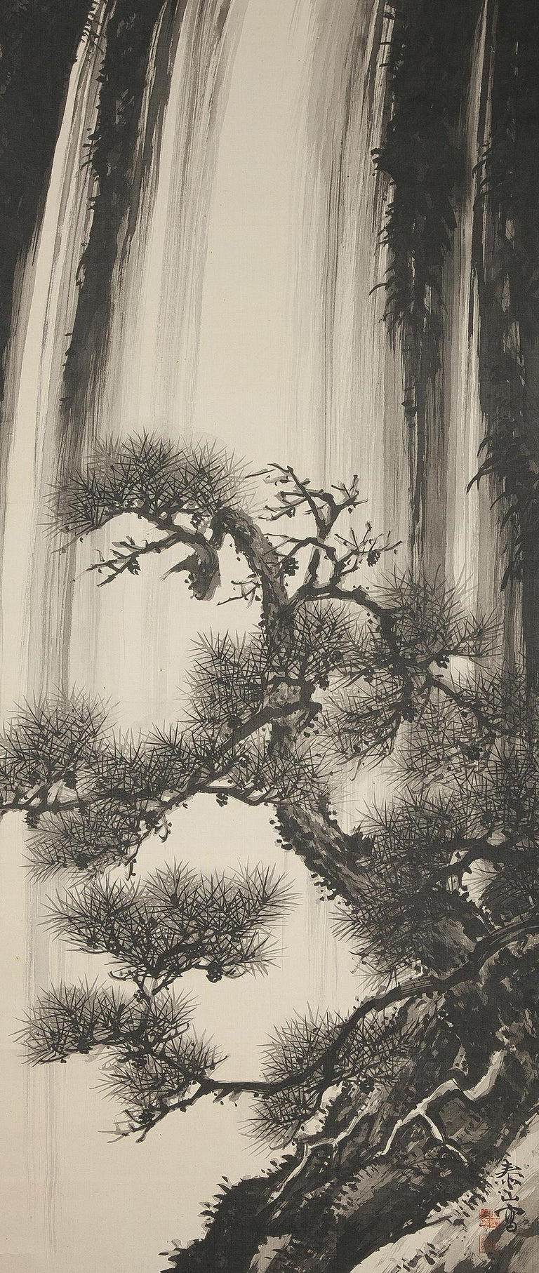 Japanese Lovely 20th Century Scroll Paintings Japan Artist Signed Tree in Ink Waterfall For Sale