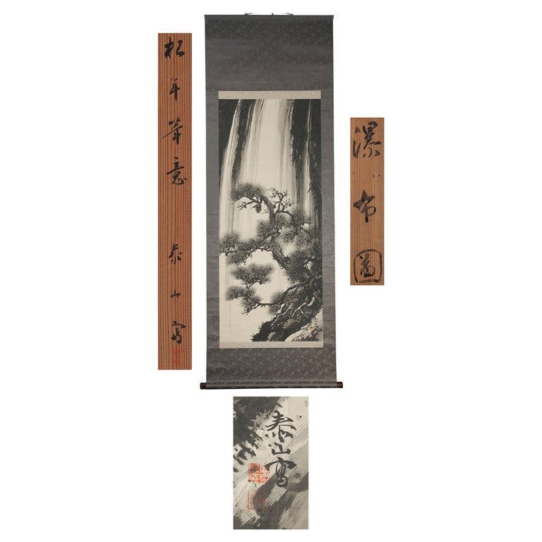 Lovely 20th Century Scroll Paintings Japan Artist Signed Tree in Ink Waterfall For Sale