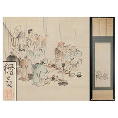 Lovely 20th Century Tatehiko Kan Scroll Paintings Japan Artist Crane Painted