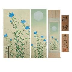 Lovely 20th Horii Ko Scroll Painting Japan Artist Flowers Painted