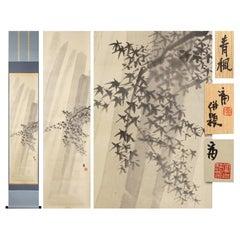 Lovely 20th Tokuriki Tomiyoshiro Scroll Paintings Japan Artist Crane Painted