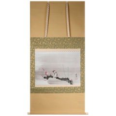Lovely 20th Yūki Somei Scroll Paintings Japan Artist Bird and tree Painted