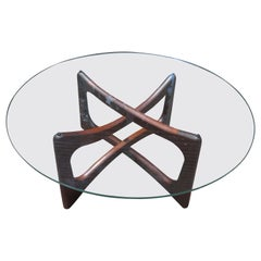 Lovely Adrian Pearsall Round Dogbone Walnut Coffee Table Mid-century Modern