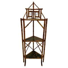 Lovely Aesthetic Movement Chinoiserie Bamboo & Laquer Corner Etagere Shelves