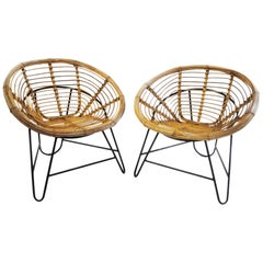 Lovely and Comfy Pair of Rattan Armchairs