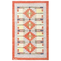 Lovely and Vibrant Vintage Swedish Kilim. Size: 6 ft x 9 ft 9 in