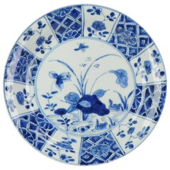 Lovely Antique Blue white Dish Lotus Ducks Qing Chinese Porcelain Ch