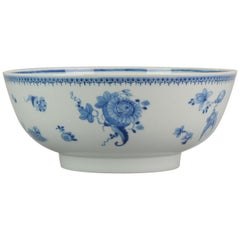 Lovely Antique Chinese Qianlong Period Blue & White Punch Bowl Qing Dynasty