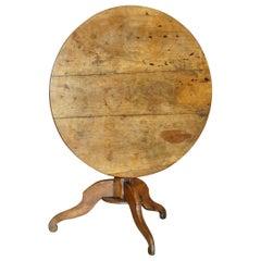 Lovely Antique circa 1860-1880 Fruitwood Cricket Table Three Plank Tilt Top