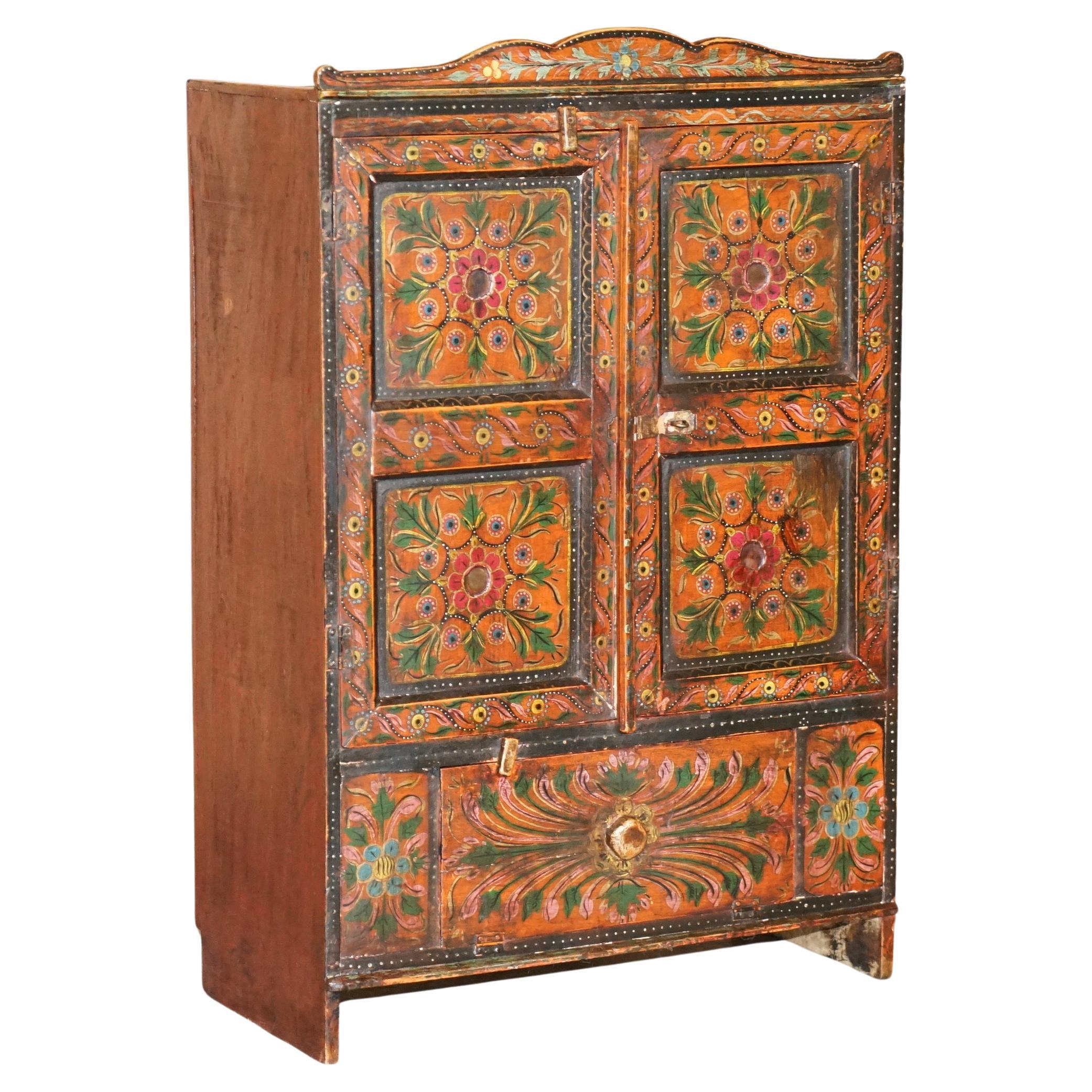 Lovely Antique circa 1860 Hand Painted East Europeon Side Cupboard Cabinet