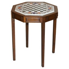 Lovely Antique circa 1900 Hardstone & Marble Inlaid Chess Table Stunning Colours